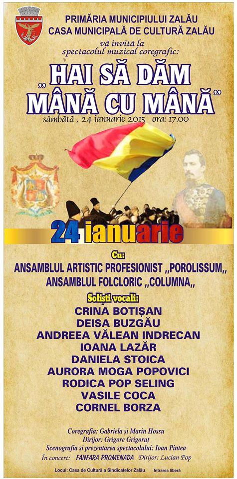 """""""HAI SĂ DĂM MÂNĂ CU MÂNĂ"""", spectacol muzical-coregrafic organizat în Zalău, sâmbătă 24 ianuarie"""